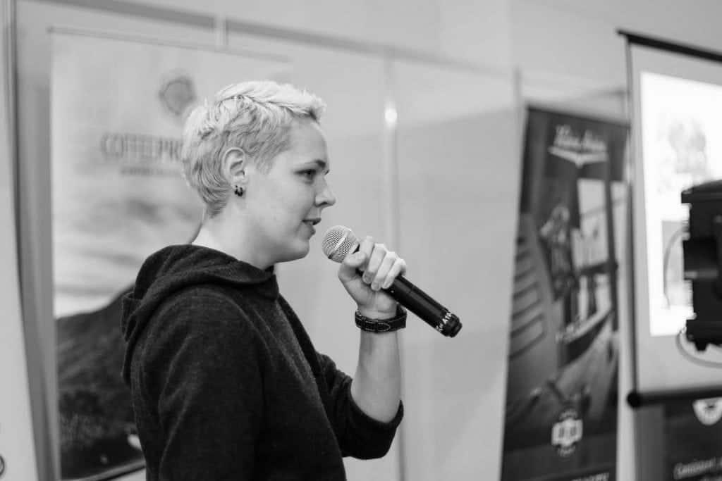 Agnieszka Rojewska sharing her experience at Polish Cup Tasters Championship