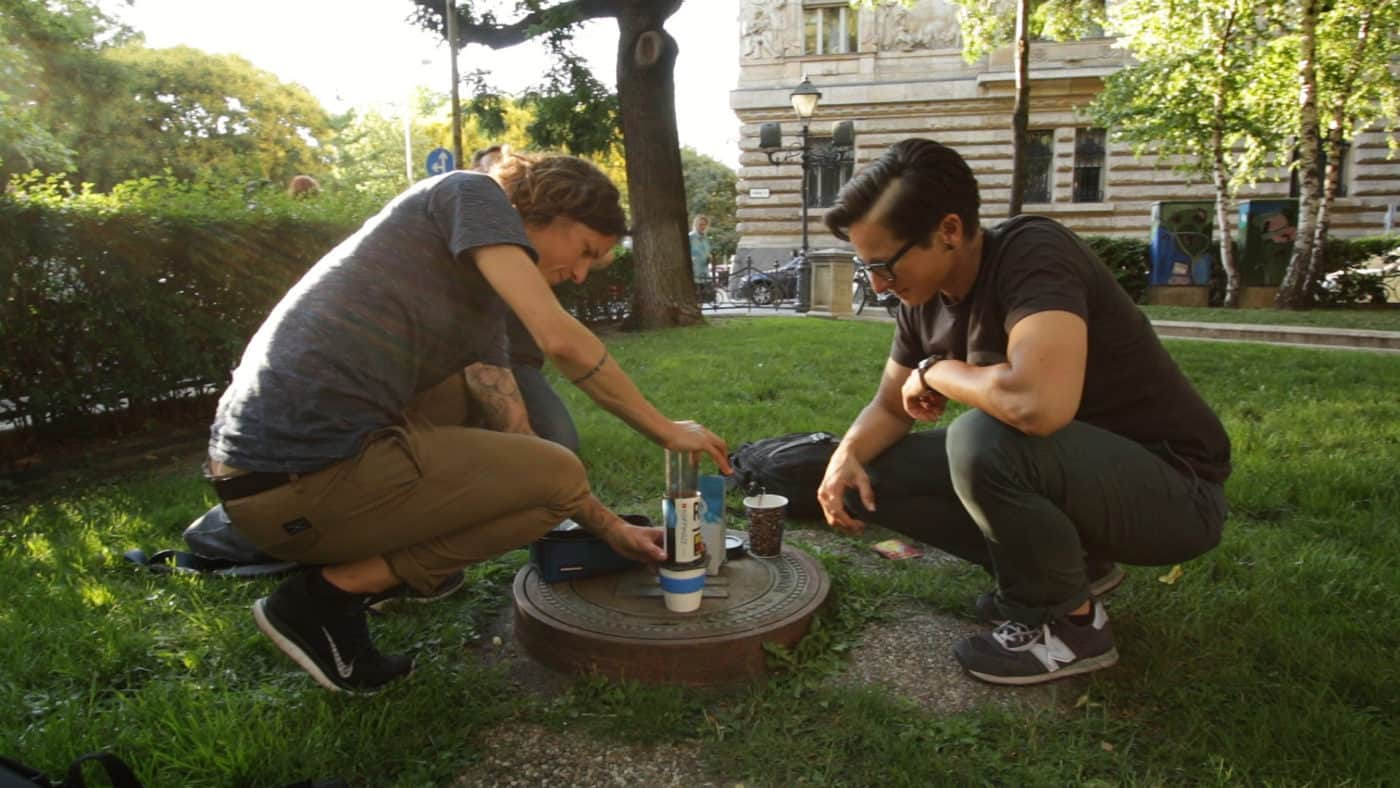 Coffee Outdoors with Vertical Coffee Roasters