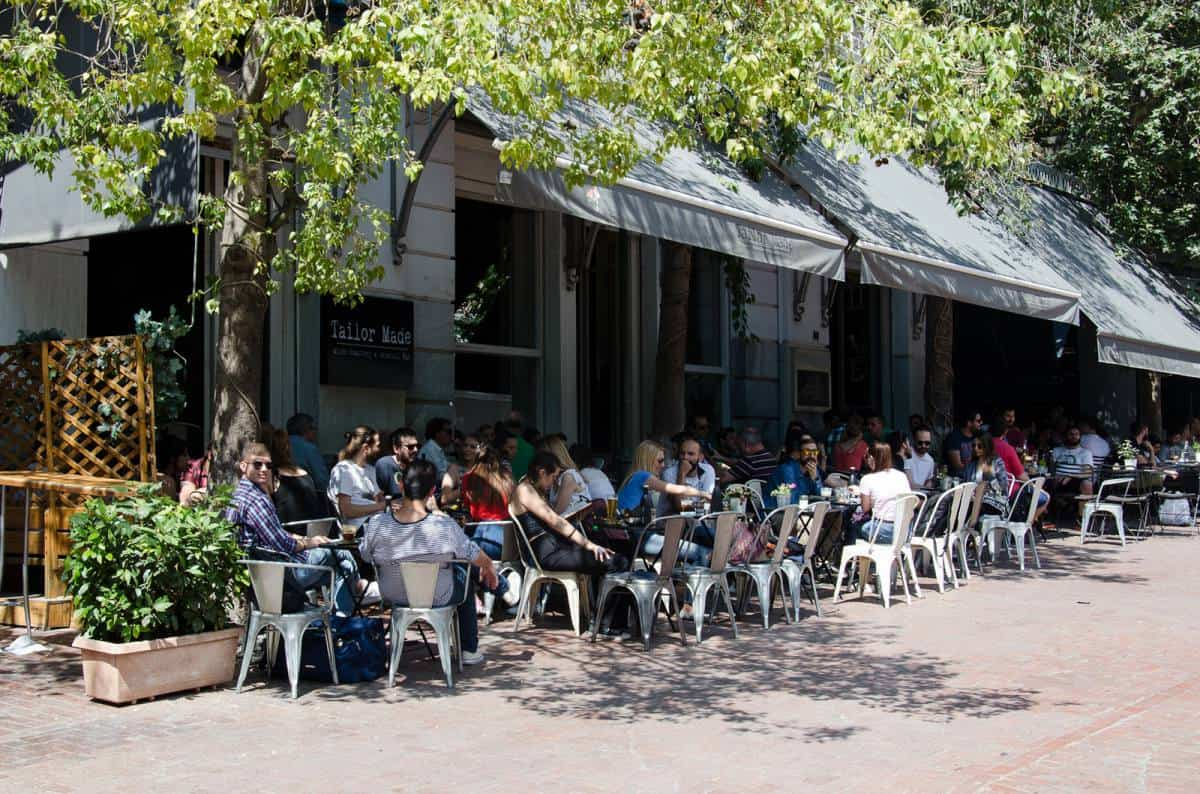 outdoor seating of Tailor Made cafe in Athens