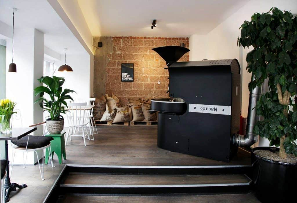 The roasting machine at Mókuska Caffè