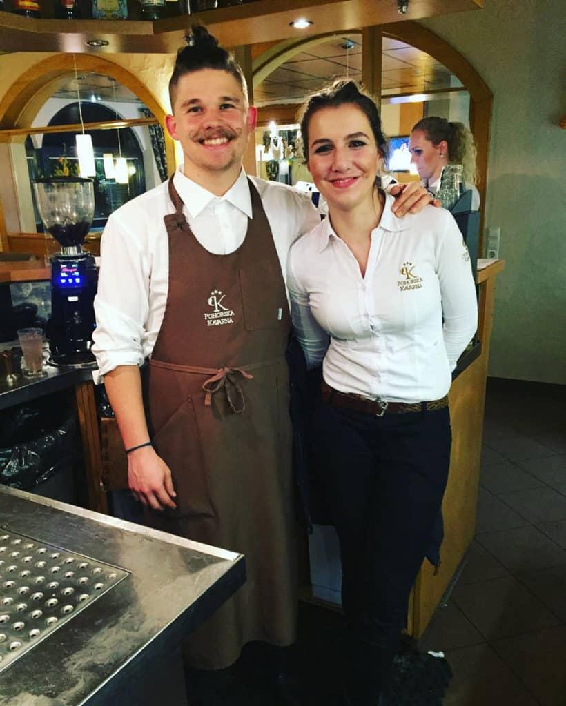 Matej and his girlfriend Frosina at his first barista job in Maribor.