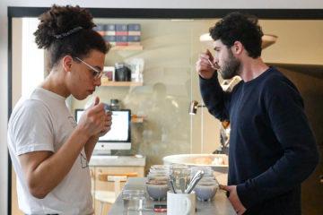 Cupping coffee at Jonas Reindl Coffee Roasters in Vienna