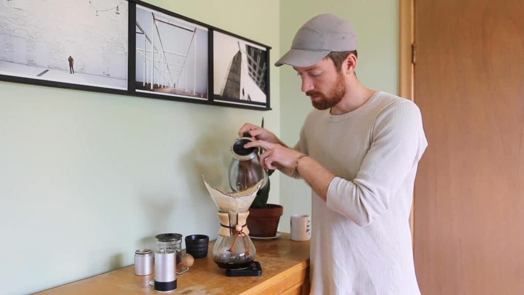Brodie Vissers brewing Chemex coffee.