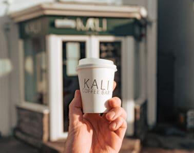 Kali Coffee Bar - front door &cup